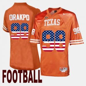 For Men US Flag Fashion Brian Orakpo Texas Jersey Orange #98 158635-359