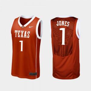 Replica College Basketball #1 Andrew Jones Texas Jersey Burnt Orange Men's 820639-882