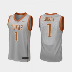 Andrew Jones Texas Jersey College Basketball #1 Replica Gray For Men 679304-178