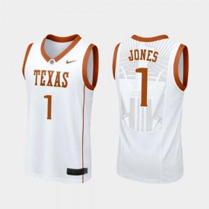 Mens White Andrew Jones Texas Jersey #1 Replica College Basketball 903919-832