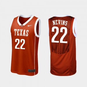Blake Nevins Texas Jersey Replica College Basketball Burnt Orange For Men #22 618504-851