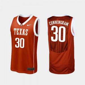 Brock Cunningham Texas Jersey #30 College Basketball Replica Burnt Orange Men 120285-713