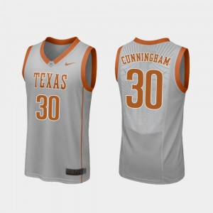 Gray Replica College Basketball Men's Brock Cunningham Texas Jersey #30 755903-664