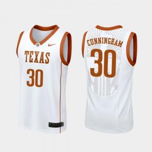 Replica College Basketball White Men #30 Brock Cunningham Texas Jersey 802985-602