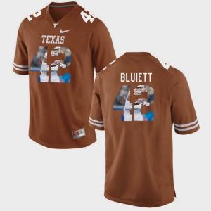 Brunt Orange For Men's Caleb Bluiett Texas Jersey #42 Pictorial Fashion 367791-605