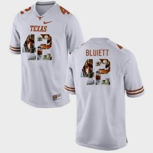 Caleb Bluiett Texas Jersey Men's White #42 Pictorial Fashion 789731-896