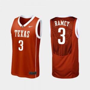 Courtney Ramey Texas Jersey Men #3 College Basketball Burnt Orange Replica 143234-551
