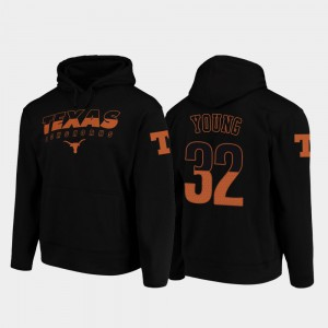 For Men's Wedge Performance Daniel Young Texas Hoodie Black College Football Pullover #32 962424-868