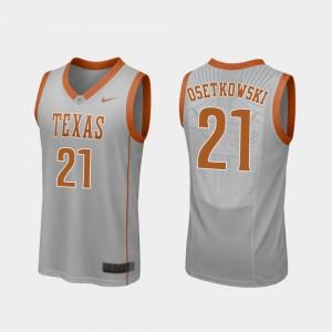 Mens Replica College Basketball #21 Gray Dylan Osetkowski Texas Jersey 713363-727