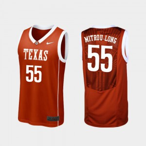 #55 Elijah Mitrou-Long Texas Jersey College Basketball Burnt Orange Men's Replica 491528-491