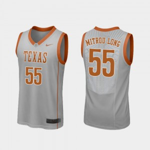 Elijah Mitrou-Long Texas Jersey #55 Gray Replica College Basketball For Men 396246-191