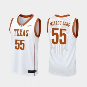 Elijah Mitrou-Long Texas Jersey White College Basketball Replica Men #55 676449-189
