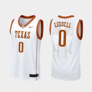 For Men's Gerald Liddell Texas Jersey College Basketball Replica White #0 548246-419