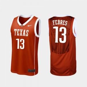 Jase Febres Texas Jersey Burnt Orange Replica #13 College Basketball Mens 552436-172