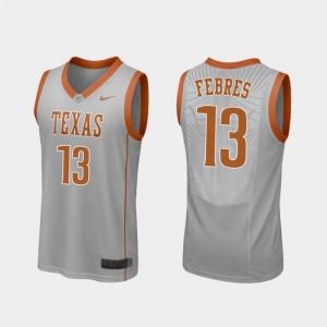 Gray Mens College Basketball Jase Febres Texas Jersey #13 Replica 545774-585