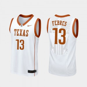 #13 College Basketball Jase Febres Texas Jersey White Men Replica 860837-551