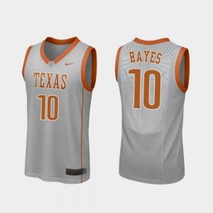 For Men's Replica Jaxson Hayes Texas Jersey #10 Gray College Basketball 890640-226