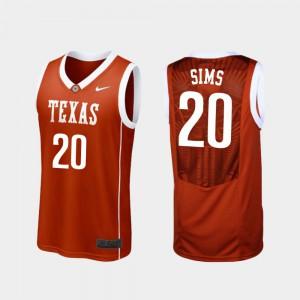 #20 Jericho Sims Texas Jersey Replica Burnt Orange Mens College Basketball 237498-788