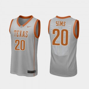 College Basketball Jericho Sims Texas Jersey #20 Replica Gray For Men's 823183-961