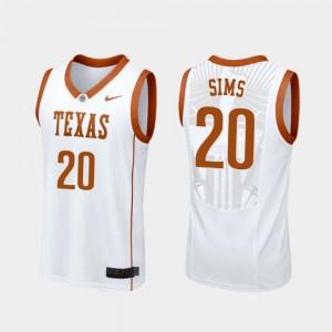 Jericho Sims Texas Jersey College Basketball White Men's Replica #20 987781-885