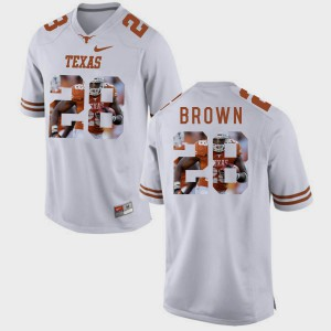 #28 Pictorial Fashion Mens Malcolm Brown Texas Jersey White 684951-862