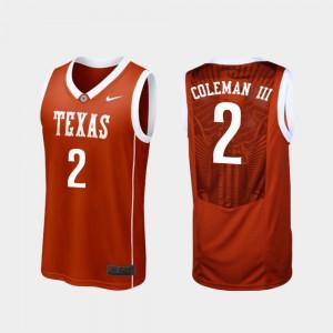Matt Coleman III Texas Jersey College Basketball Replica Burnt Orange #2 Mens 635118-811