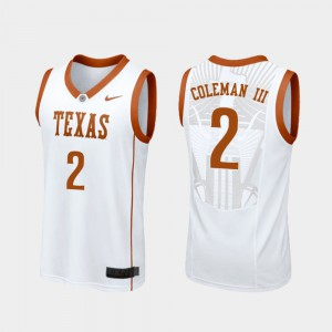 White Replica Matt Coleman III Texas Jersey #2 College Basketball For Men's 273477-217