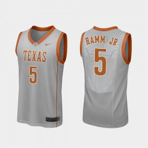 #5 Men's Royce Hamm Jr Texas Jersey Replica Gray College Basketball 866539-786