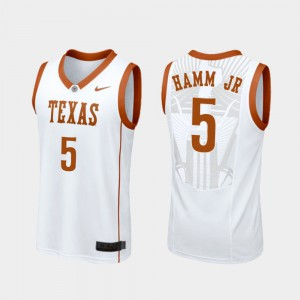 College Basketball White Royce Hamm Jr Texas Jersey #5 Replica Men's 199181-162