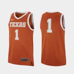 College Basketball Texas Jersey Texas Orange Replica For Men's #1 131343-561