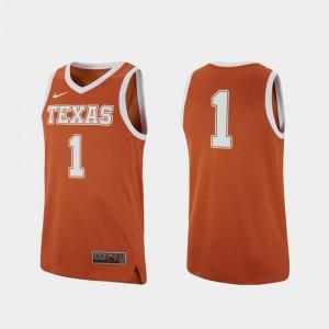 Replica #1 College Basketball For Men Texas Jersey Texas Orange 113349-701