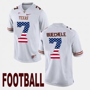 Shane Buechele Texas Jersey #7 US Flag Fashion White For Men's 807640-494
