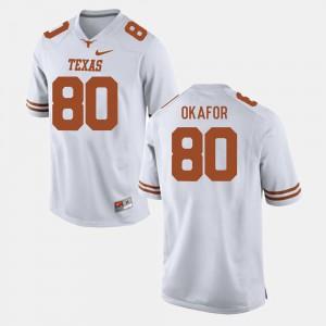 #80 For Men's College Football White Alex Okafor Texas Jersey 499673-670