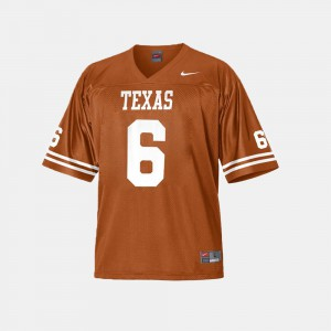 #6 College Football Burnt Orange For Men Jake Oliver Texas Jersey 288537-897