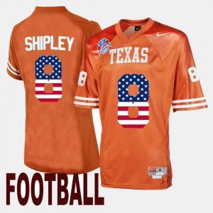 Orange Throwback For Men's Jordan Shipley Texas Jersey #8 153500-822