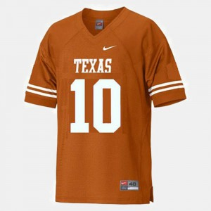 For Men's #10 College Football Vince Young Texas Jersey Orange 527934-259