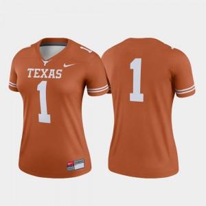 Texas Jersey #1 College Football Legend Texas Orange Women 355873-849
