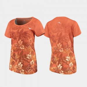 For Women Tommy Bahama Floral Victory Texas T-Shirt Texas Orange 241298-645