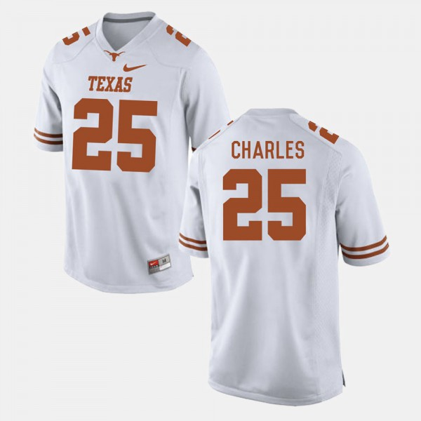 Mens #25 White Jamaal Charles Texas Jersey College Football 312380-966